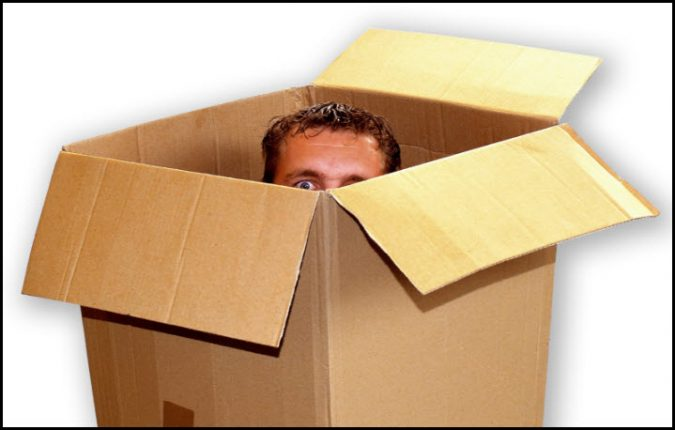 person in box