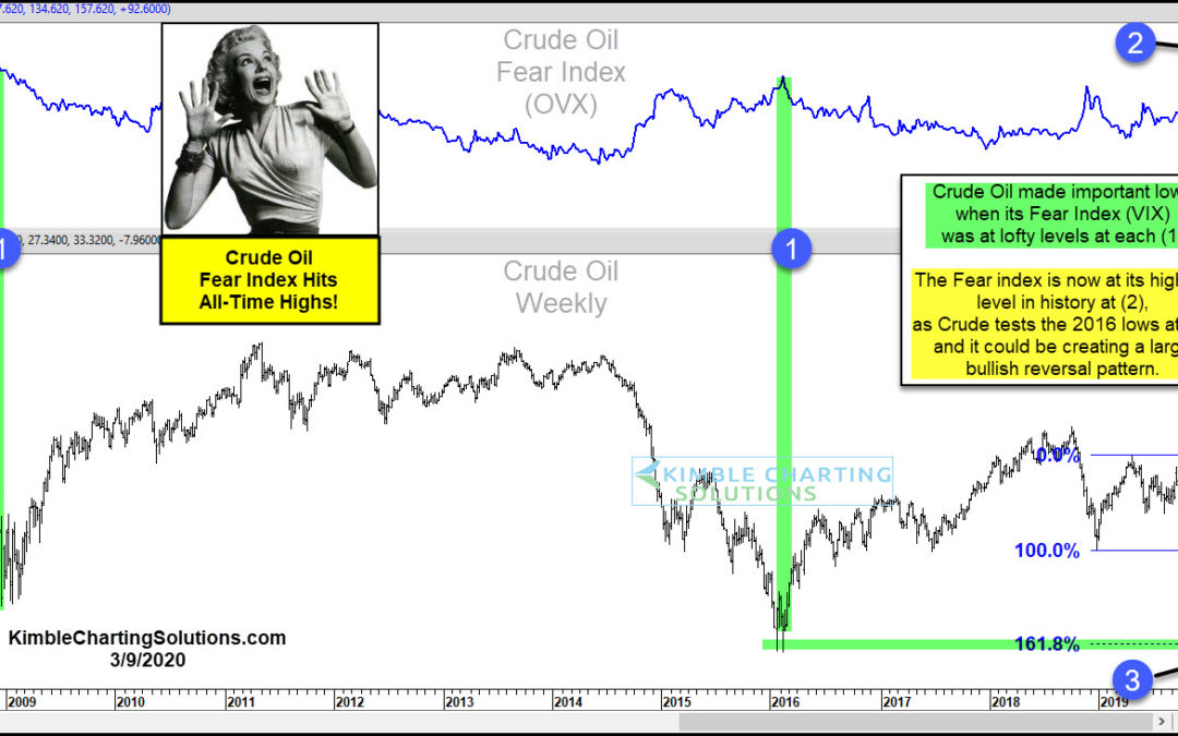 Crude Oil Crashes as Fear Index Spikes: Bullish Reversal Pattern Forming At Support?